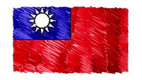 Zatrzymuje ruchu Tajwan flagi kreskówki animacji tła nowej ilości symbolu markier rysującego krajowego patriotycznego kolorowego  royalty ilustracja
