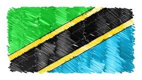 Zatrzymuje ruchu Tanzania flagi kreskówki animacji tła nowej ilości symbolu markier rysującego krajowego patriotycznego koloroweg ilustracja wektor