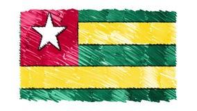 Zatrzymuje ruchu Togo flagi kreskówki animacji tła nowej ilości symbolu markier rysującego krajowego patriotycznego kolorowego wi royalty ilustracja