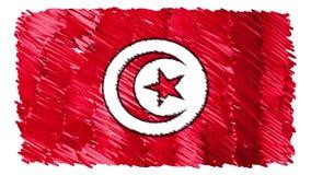 Zatrzymuje ruchu Tunezja flagi kreskówki animacji tła nowej ilości symbolu markier rysującego krajowego patriotycznego kolorowego royalty ilustracja