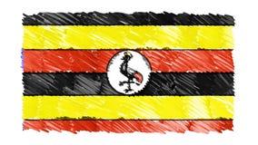 Zatrzymuje ruchu UGANDA flagi kreskówki animacji tła nowej ilości symbolu markier rysującego krajowego patriotycznego kolorowego  ilustracji
