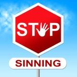 Zatrzymuje Sinning przedstawienie znaka ostrzegawczego I Ostrzega Zdjęcia Stock