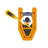 Zattera arancio per un Person With Peddle, parte della barca e serie degli sport acquatici di illustrazioni piane semplici di vet Immagini Stock