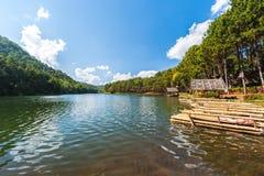 Zattera di bambù nel parco del lago del oung della fitta, provincia di Mae Hong Son, tailandese fotografia stock