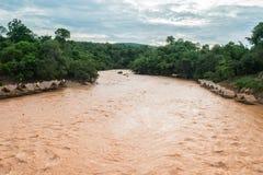 Zattera di bambù su acqua fangosa che entra nel fiume Immagini Stock Libere da Diritti