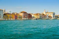 Zattere from Giudecca. Zattere area seen from a boat in Canale della Giudecca, Venice Royalty Free Stock Photos