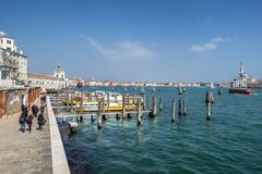 Zattere on the Grand Canal in Venice. Zattere water bus station on the grand canal in Venice Italy Royalty Free Stock Image