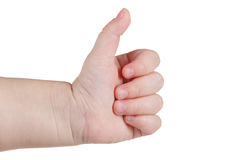 Zatwierdzenie aprobaty jak znak, caucasian dziecko ręki gest odizolowywający nad bielem obrazy royalty free