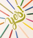 Zatwierdzenie motywacyjny zwrot ręcznie pisany między kolorowymi markierami Zdjęcie Royalty Free