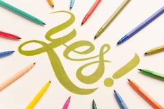 Zatwierdzenie motywacyjny zwrot ręcznie pisany między kolorowymi markierami Obraz Stock