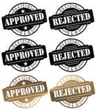 Zatwierdzona Stemplowa foka Odrzucający Stemplowy foka logo royalty ilustracja