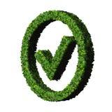 Zatwierdzony, ok, jak, eco znak robić od zieleń liści odizolowywających na białym tle 3 d czynią Zdjęcia Royalty Free