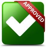 Zatwierdzony potwierdza ikony zieleni kwadrata guzika Zdjęcia Stock