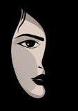 Zauber- oder Promimädchen mit schwarzem Hintergrund Lizenzfreie Stockfotografie