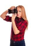Zauberamateurphotograph, der eine Berufskamera hält Lizenzfreie Stockbilder