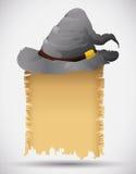 Zauberer-Hut mit Bann-Rolle Stockbilder
