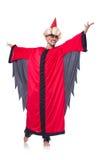 Zauberer im roten Kostüm Stockfotografie