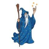 Zauberer-Karikatur mit Blau-und Stern-Kleidungs-Charakter-Design-Maskottchen-Vektor Stockbild
