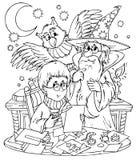 Zauberer und seine Schüler Stockbilder