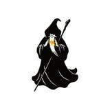 Zauberer-Zeichentrickfilm-Figur-Design-Vektor Stockfoto