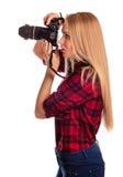 Zauberfrauphotograph nimmt die Bilder -, die auf Weiß lokalisiert werden Lizenzfreie Stockfotografie
