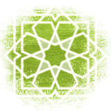 Zauberkreis, heilige Geometrie, glühende Neonlinien Stockfoto