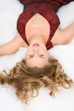 Zauberportrait von blondem mit eleganter Frisur Stockbilder