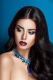 Zauberschönheits-Frau Brunette mit dem schönen glänzenden gourgeous perfekten gelockten Haar und Make-up stockbilder