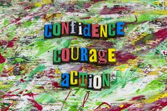 Zaufanie odwaga akci jaźni zapewnienie zdjęcie royalty free