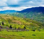 Zaun auf Abhangwiese Lizenzfreie Stockfotos