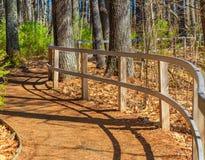 Zaun auf dem Wickeln von Forest Path kurven Stockfoto