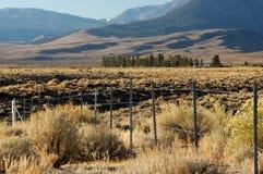 Zaun in der Wüstenlandschaft Stockbilder