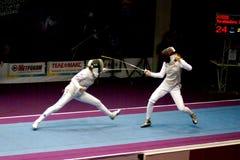 Zaun des Weltcups Shanaeva 2010 gegen Eriggo Arianna Lizenzfreies Stockbild