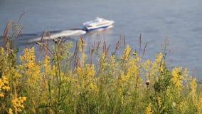 Zaun einer Plattform auf Flusspassagierschiff Flussbänke stock video