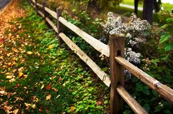 Zaun entlang der Straße. Stockbilder