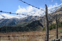 Zaun hergestellt vom Stacheldraht, der Leute zum Genießen von Schönheit der Natur stoppt Stockbild