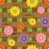 Zaun mit Blumen. Nahtloses Hintergrundmuster Lizenzfreie Stockfotografie
