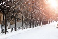 Zaun mit Sonnenspitzen Lizenzfreie Stockfotografie