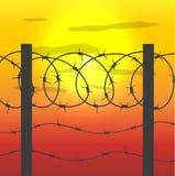 Zaun mit Stacheldraht Stockfoto