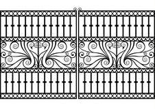 Zaun oder Gatter des bearbeiteten Eisens Lizenzfreies Stockfoto