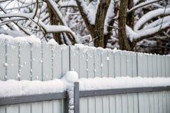 Zaun und Bäume schneebedeckt in Col.winter lizenzfreie stockfotos