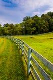 Zaun und Bauernhoffeld in ländlichem York County, Pennsylvania Stockfotografie