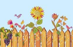 Zaun- und Blumenkarikaturrand vektor abbildung