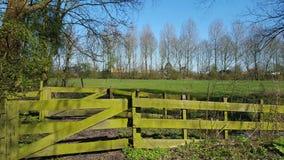 Zaun und Wiese Stockfotos