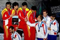 Zaun von Weltcup 2010. Siegerehrung Stockfotografie