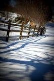 Zaunschatten auf einem Schnee bedeckte Weg Stockfotografie