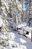 Zaunzeile im Schnee Lizenzfreie Stockfotos