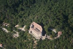 Zavattarello - Dal Verme castle. Aerial view of the Dal verme castle of Zavattarello Royalty Free Stock Image