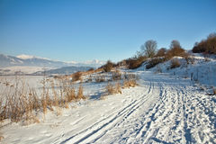 Zavazna Poruba - Dubec, Slovakia. Beautiful snowy lane somewhere in the Liptov Slovak Stock Photo