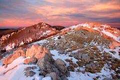 Zavizan auf Sonnenuntergang Stockfoto